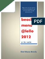 Lello Opening Menu Book 2012