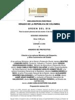 Plenaria Senado - Orden del día - 15 de mayo de 2012