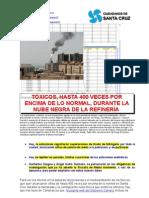 TÓXICOS, HASTA 400 VECES POR ENCIMA DE LO NORMAL, DURANTE LA NUBE NEGRA DE LA REFINERÍA