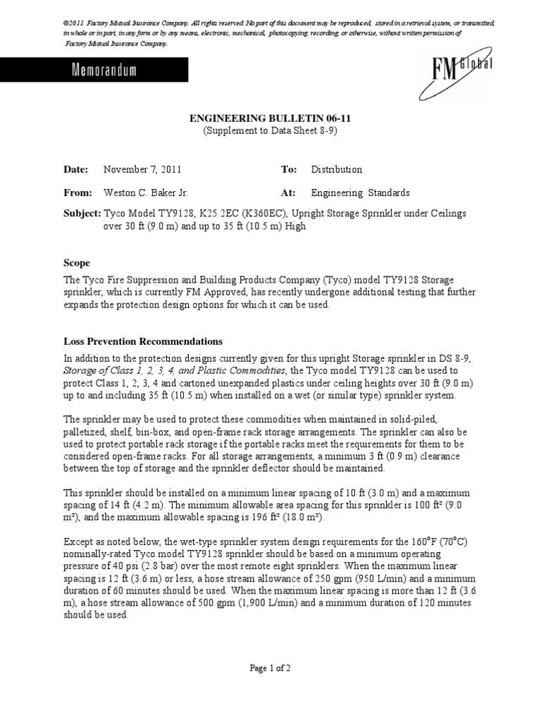 FMDS0809 | Fire Sprinkler System | Warehouse