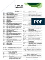 Excel Keyboard Shortcut Cheatsheet