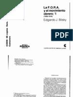 BILSKY EDGARDO J. - La FORA y El Movimiento Obrero[1]