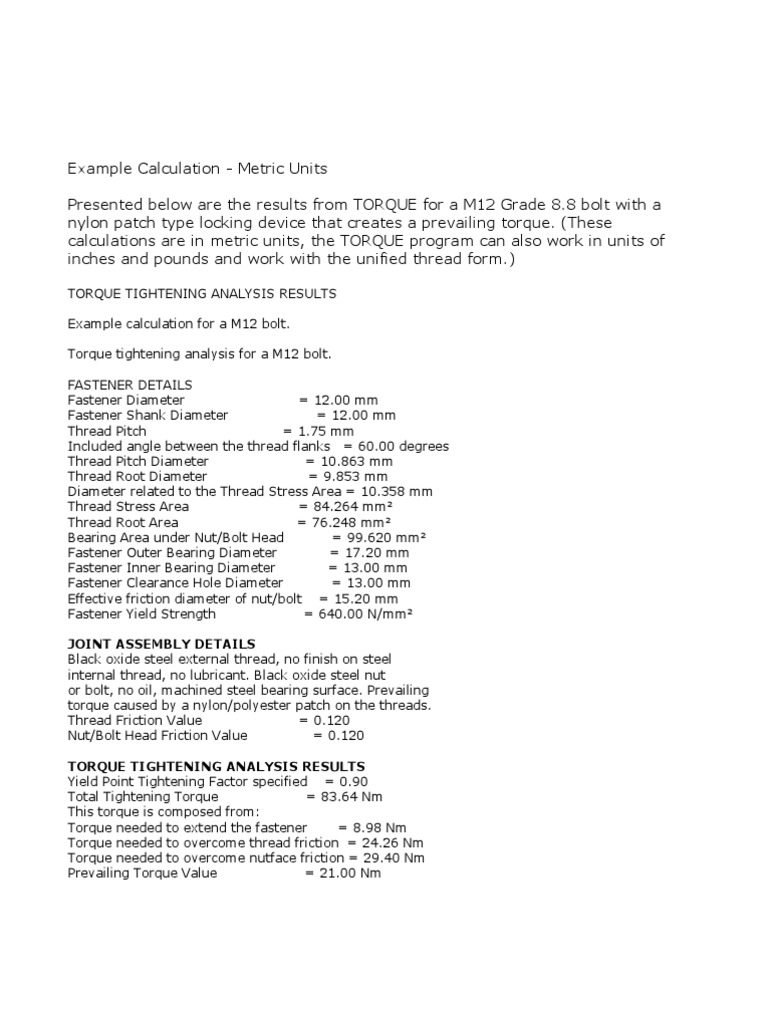 Example Calculation Torque | Screw | Nut (Hardware)