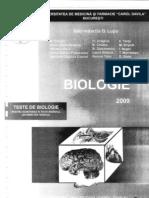 Biologie - Teste Admitere Carol Davila 2009