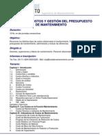 Analisis de Costos y Gestion Del Presupuesto de Mantenimiento