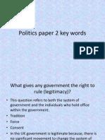 Politics Paper 2 Key Words