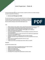 Service Improvement Supervisor – Roles & Responsibilities