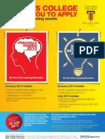 Scholarships Poster - Principal's Awards & TCSH Awards 2013