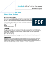 Aotc Autodesk Inventor 2008 Sheet Metal Design Course Description