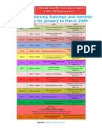 CCNAPI Schedule of Nursing Trainings and Seminar Workshops for January to February 2009
