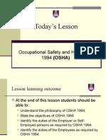 Chapter 14 - OSHA 1994 & Construction Safety