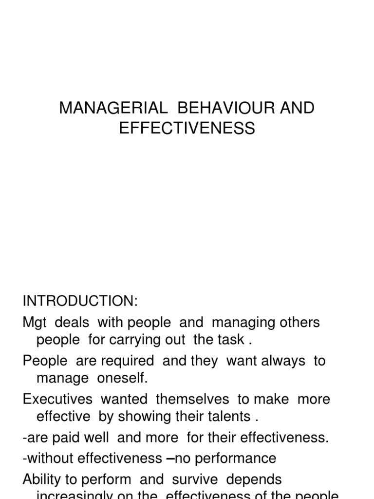 managerial behaviour and effectiveness ppt
