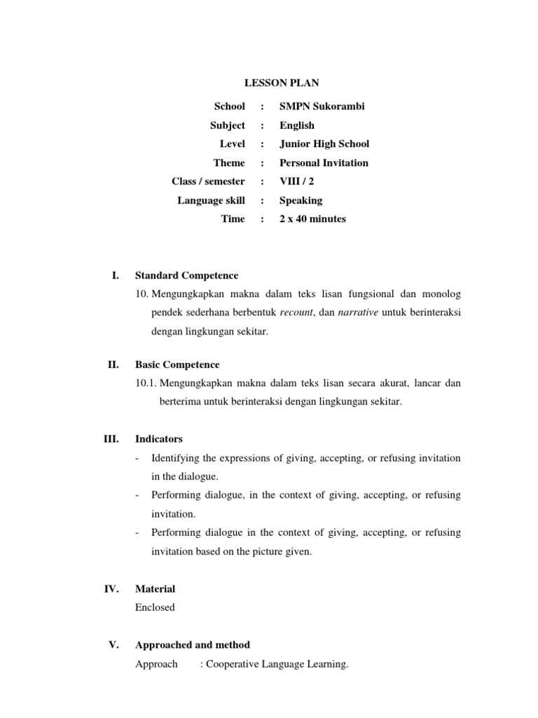 Lesson plan speaking invitation lesson plan vocabulary stopboris Images