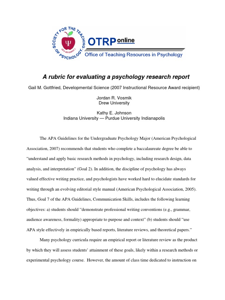 psychology research report