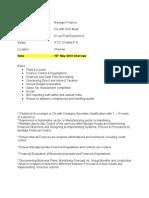 Cooper Standard - Manager Finance - Chennai