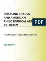 [David Carrier] Rosalind Krauss and American Philo