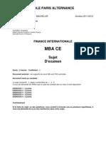 Sujet FI MBA CE 20112012