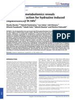 GC-MS-Based Metabolomics Reveals Mechanism of Action for Hydrazine Induced He Pa to Toxicity in Rats