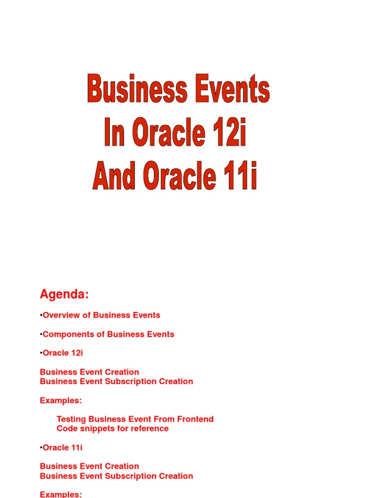 Business Events on R12 and 11i | Pl/Sql | Oracle Database