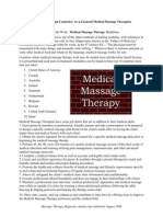 Employment - International Use of Medical Massage Therapies - Modalities