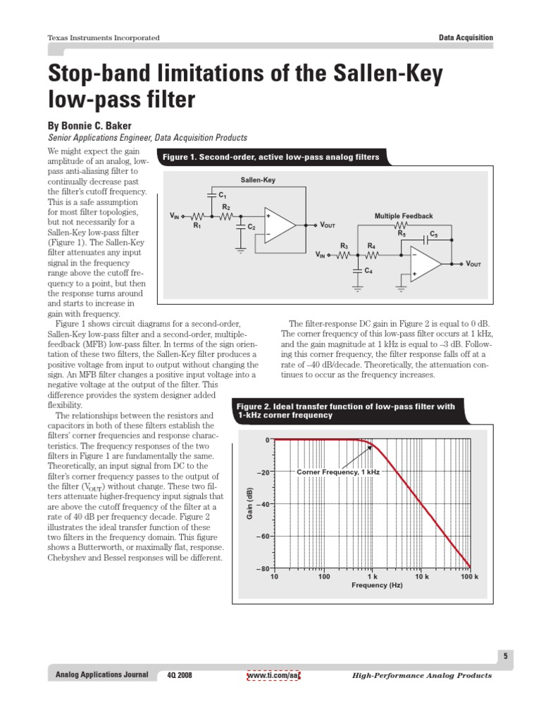 Stop Band Limitations Of The Sallen Key Low Pass Filter Slyt306 Schematic Further Circuit In Addition High Amplifier