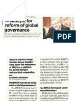 BRICS - A Catalyst for Global Governance
