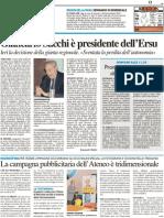 Giancarlo Sacchi è Presidente dell'Ersu - La campagna promozionale dell'Ateneo è tridimensionale - Il Resto del Carlino del 15 maggio 2012