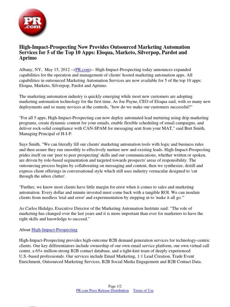 High impact prospecting now provides outsourced marketing high impact prospecting now provides outsourced marketing automation services for 5 of the top 10 apps eloqua marketo silverpop pardot and aprimo xflitez Gallery