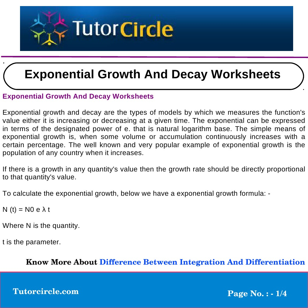 Exponential Growth and Decay Worksheets | Mathematics | Physics ...