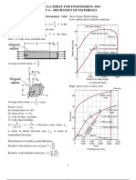 Formula Sheet Mechanics Materials