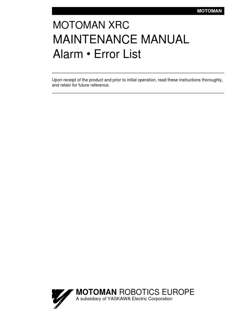 maintenance manual alarm u2022 error list xrc mrs51020 electrical rh scribd com Motoman Part Numbers Servo Drive Training