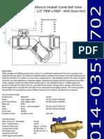 Altecnic Intaball Combi Ball Valve 1-2Inch FBSP x FBSP With Drain Port