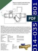 Altecnic Intaball Combi Ball Valve 22mm x 22mm Compression