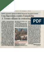 Fiaccolata contro l'omofobia - Corriere del Trentino 2012-05-16