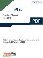 Economics Unit 3 - June 2010 Report