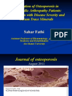 Evaluation of Osteoporosis in Hemophilic Arthropathy Patients