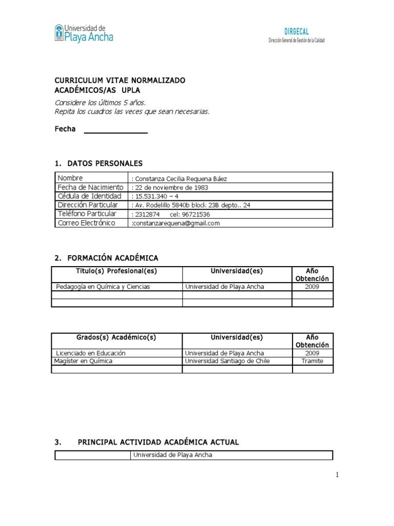 Formato Curriculum Normalizado Academicos 2012