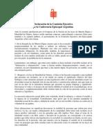 Declaración de la Comisión Ejecutiva De la Conferencia Episcopal Argentina sobre Muerte Digna e Identidad Genero