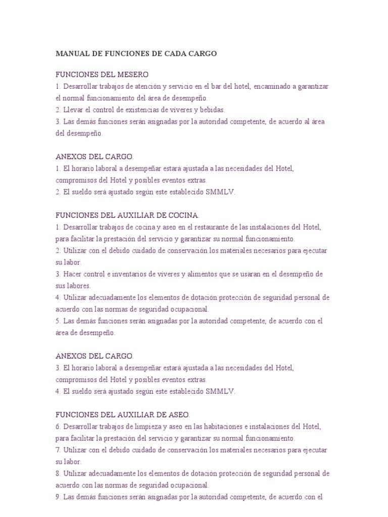 Manual de funciones de cada cargo 1 for Manual de procedimientos de alimentos y bebidas de un hotel