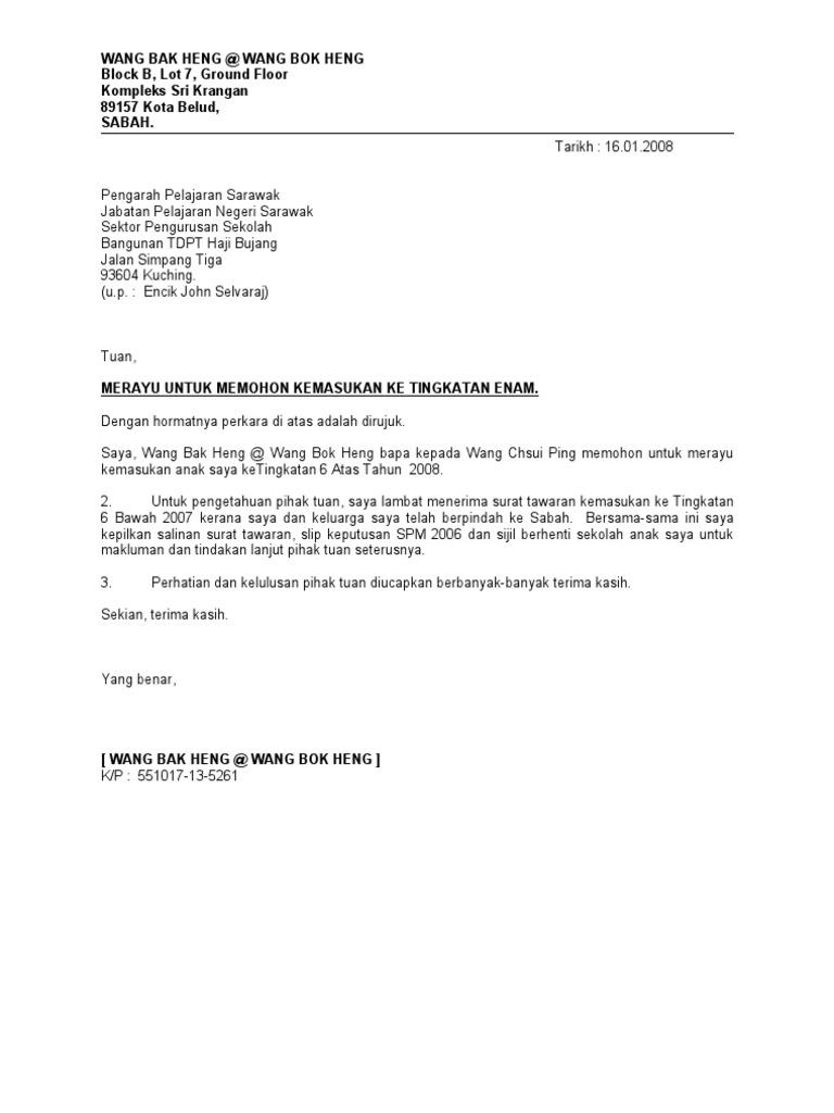 Contoh Surat Rasmi Rayuan Bayaran Ansuran - ARasmi