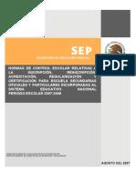Normas de Control Escolar Sec Und Aria 2007-2008