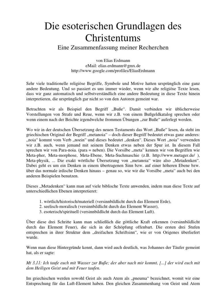 Elias Erdmann Die Esoterischen Grundlagen Des Christentums