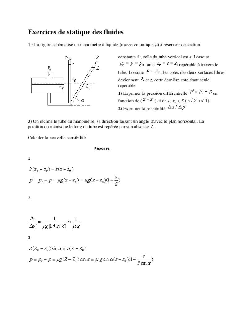Exercices de Statique Des Fluides | Tension superficielle ...
