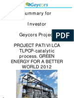 Summary For Investor Geycors Project Project Pativilca Tlpcp  Catalytic Process  Green Energy For A Better World 2012
