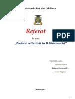 Poetica Reiterarii La D.matcovschi
