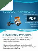 SOSIOLOGI- KRIMINALITAS