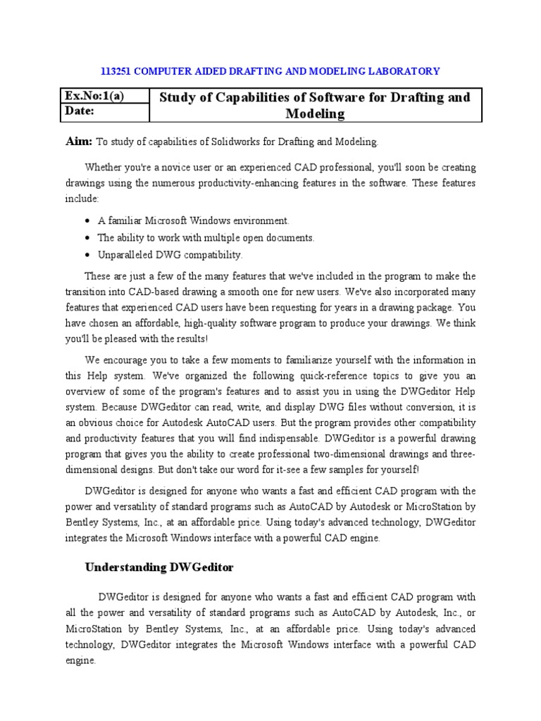MANUAL - 113251 - Computer Aided Drafting and Modeling Lab | Cartesian  Coordinate System | Auto Cad