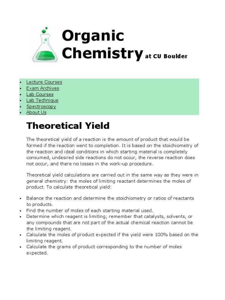 Yield Calculation | Stoichiometry | Acid