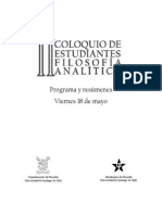 Programa Viernes 18 de mayo, II Coloquio de estudiantes de filosofía analtítica