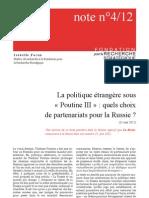 La politique étrangère sous « Poutine III »